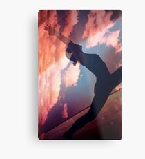 Yoga pilates analog film 35mm double exposure nature clouds photo Metal Print