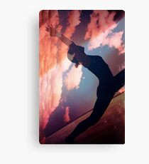 Yoga pilates analog film 35mm double exposure nature clouds photo Canvas Print