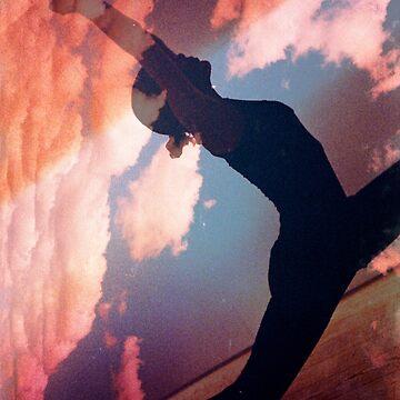 Yoga pilates analog film 35mm double exposure nature clouds photo by edwardolive