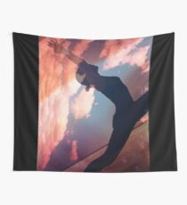 Yoga pilates analog film 35mm double exposure nature clouds photo Wall Tapestry