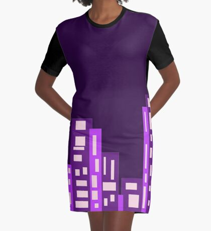 Purple City Graphic T-Shirt Dress