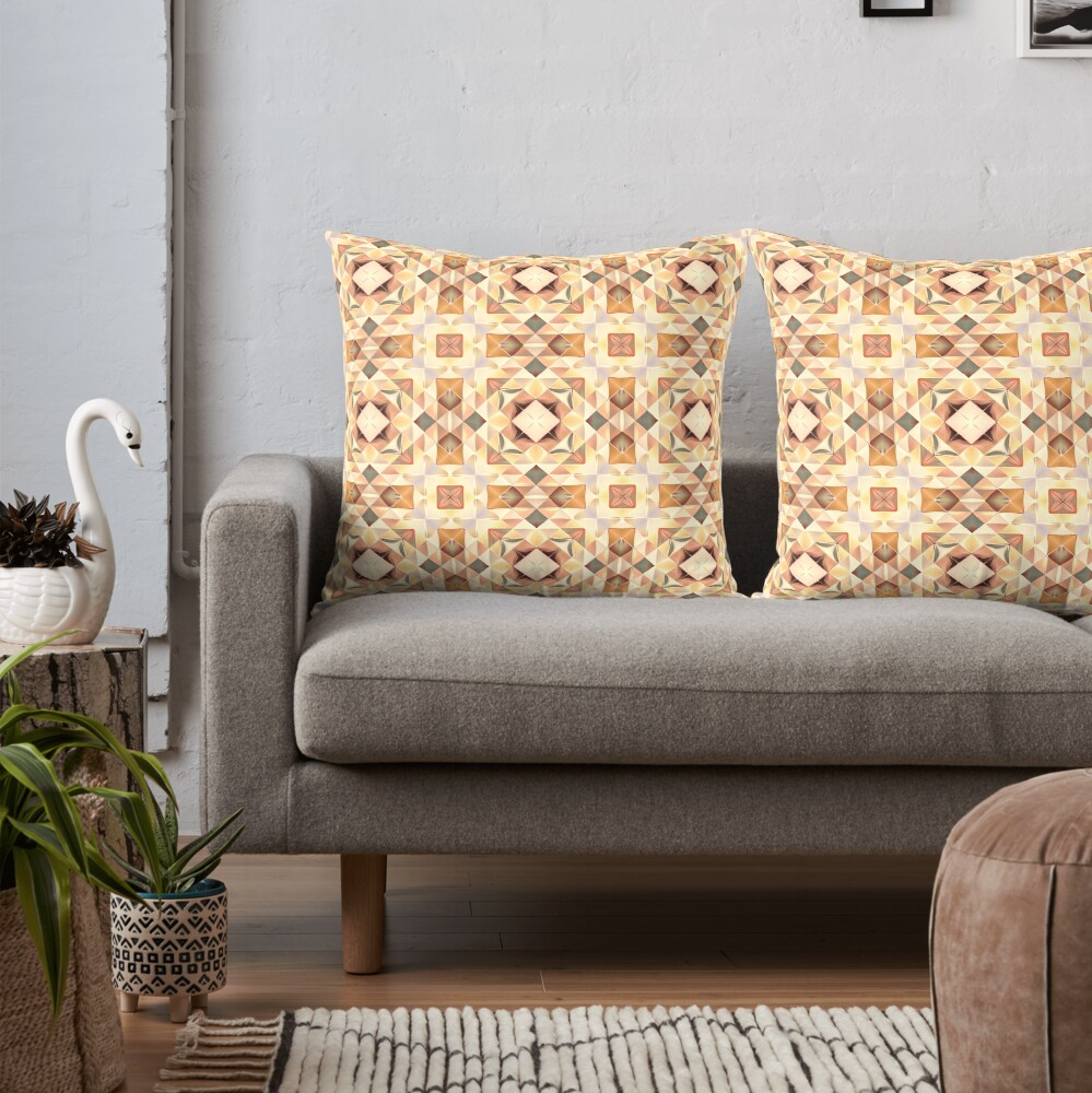 Autumnal Gold Pattern Throw Pillow