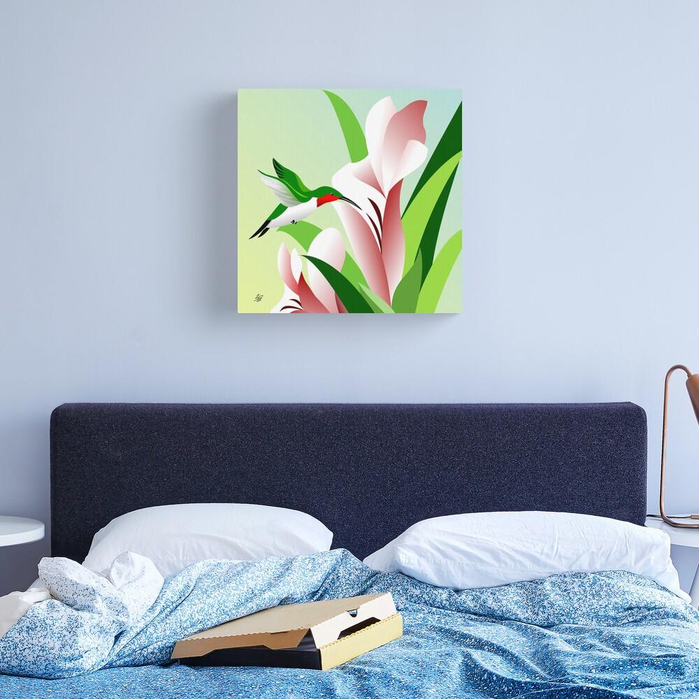 Ruby Throated Hummingbird Art Canvas Print