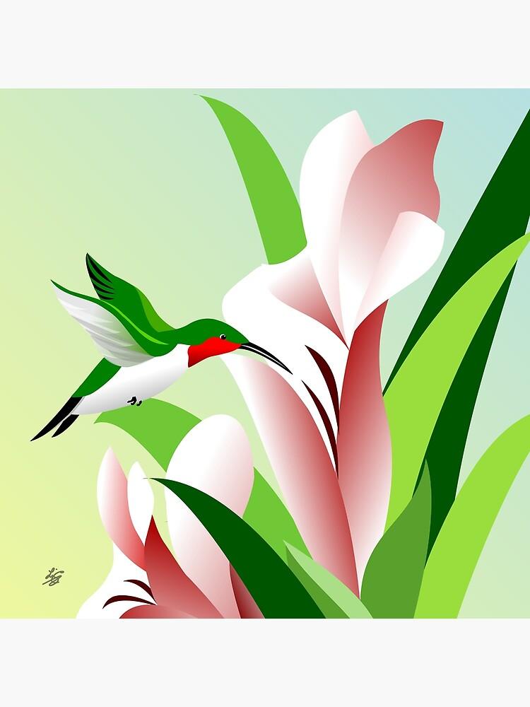Ruby Throated Hummingbird Art by studioart