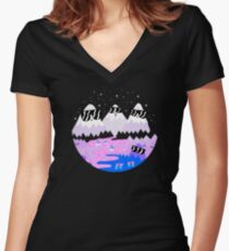 Bad Ass Mountains Women's Fitted V-Neck T-Shirt