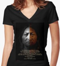 Sitting Bull Warrior quote. Poster Women's Fitted V-Neck T-Shirt