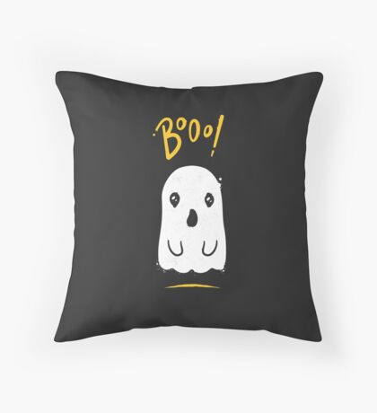 Boo, Cute and Scary Halloween Ghost Throw Pillow