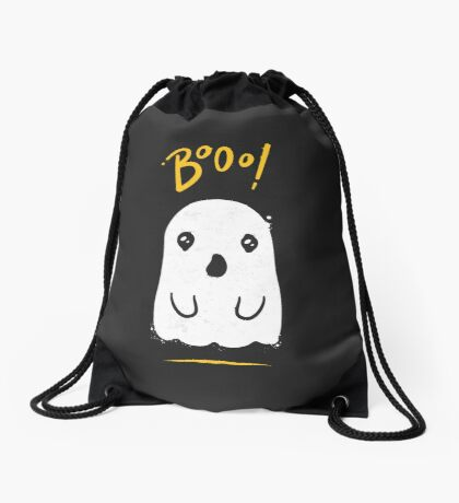 Boo, Cute and Scary Halloween Ghost Drawstring Bag