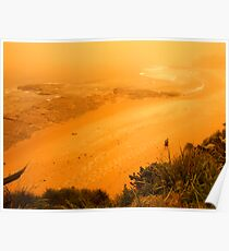 orange morning of the apocalypse down at the beach Poster