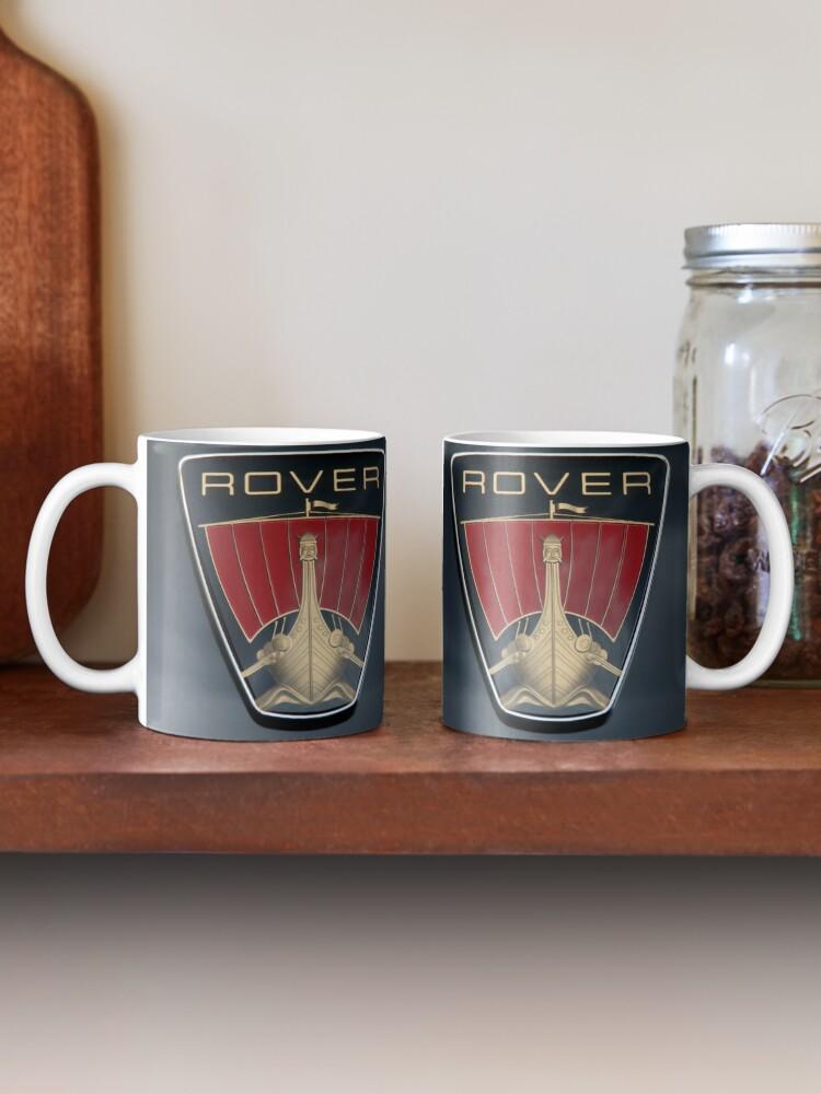 Alternate view of Classic Rover P6 Viking ship badge (black background) Mug