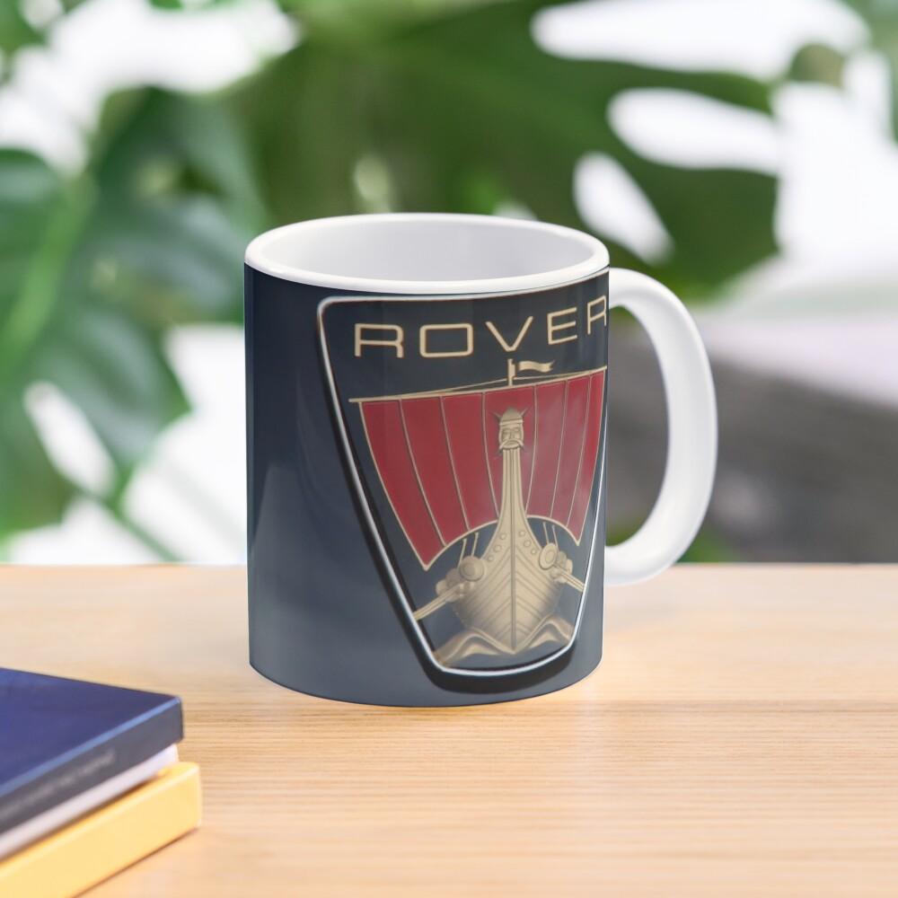 Classic Rover P6 Viking ship badge (black background) Mug