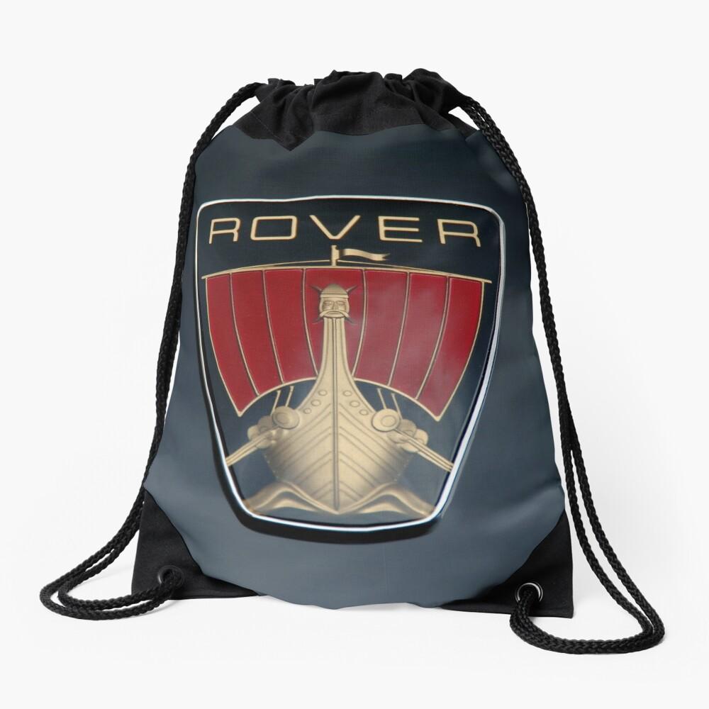 Classic Rover P6 Viking ship badge (black background) Drawstring Bag