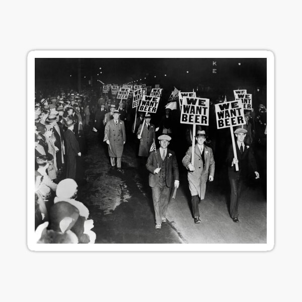 We Want Beer! Prohibition Protest, 1931. Vintage Photo Sticker