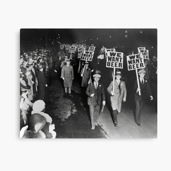 We Want Beer! Prohibition Protest, 1931. Vintage Photo Metal Print