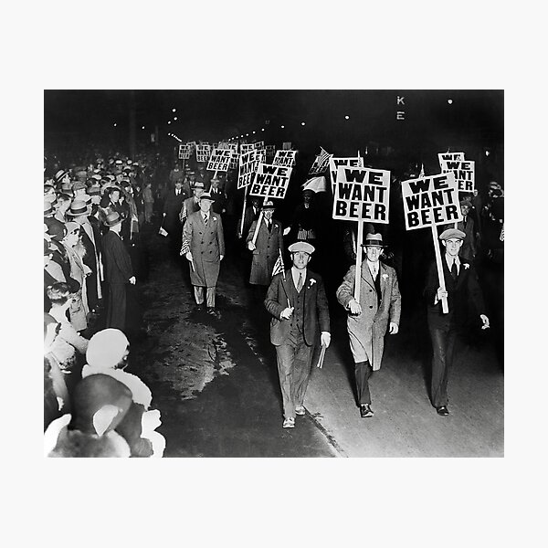 We Want Beer! Prohibition Protest, 1931. Vintage Photo Photographic Print