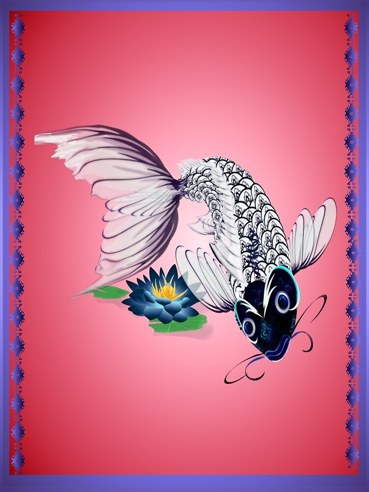 White Koi-Blue Lily Poster by Lotacats