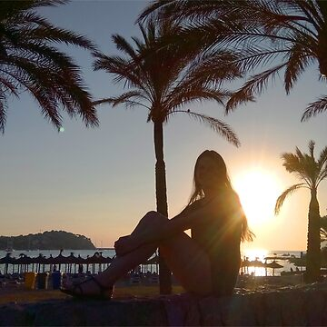 Holiday pic sunset palms ocean sun with fashion model by xsylx