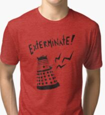 Dalek Doctor Who Stencil-Style Illustration Tri-blend T-Shirt