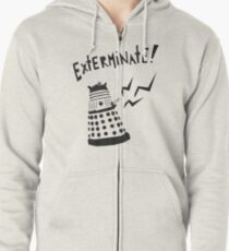 Dalek Doctor Who Stencil-Style Illustration Zipped Hoodie