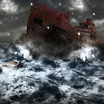 Shipwreck in storm by TEOillustration