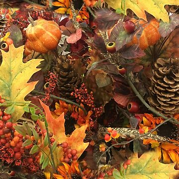 Autumn Pine Cones and Fall Leaves by Gravityx9