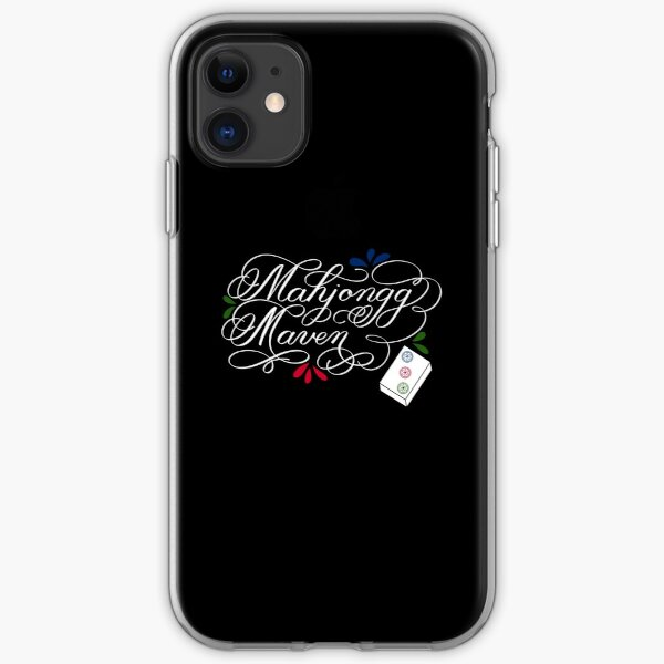 Mahjongg Mahjong Maven Design in Dark Background iPhone Soft Case