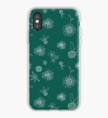 Garden Pattern in White on Dark Teal iPhone Case