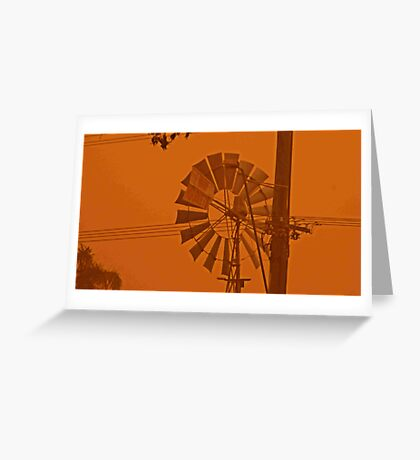 Red Dust Storm Windmill  Greeting Card
