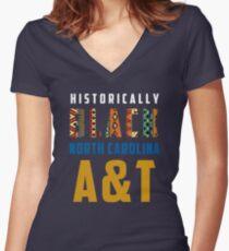 North Carolina A&T HBCU Women's Fitted V-Neck T-Shirt
