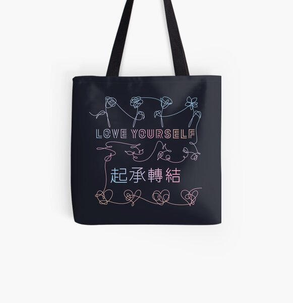 BTS Love Yourself albums connected (dark background) All Over Print Tote Bag