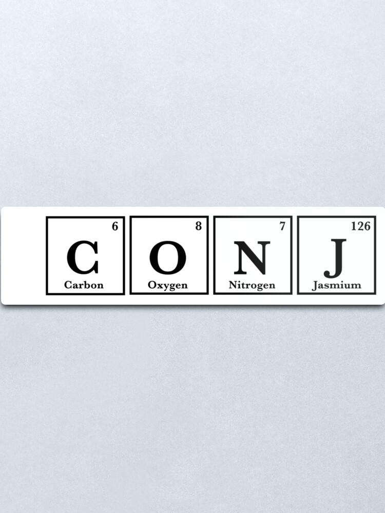 Alternate view of CONJ periodic table sticker  Metal Print