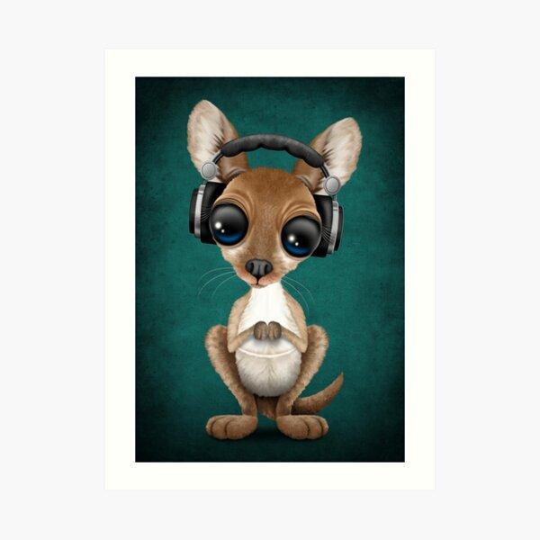 Cute Baby Kangaroo Deejay Wearing Headphones Art Print