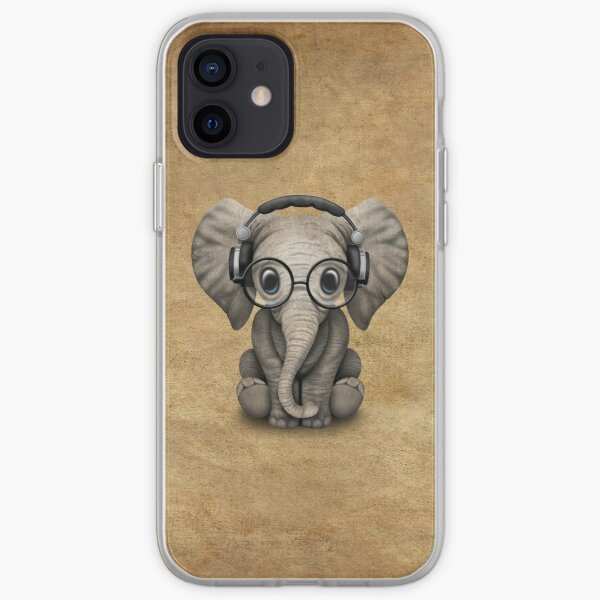 Cute Baby Elephant Dj Wearing Headphones and Glasses iPhone Soft Case