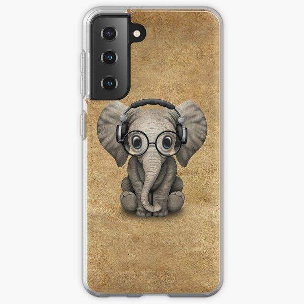 Cute Baby Elephant Dj Wearing Headphones and Glasses Samsung Galaxy Soft Case