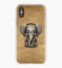 Vinilo o funda para iPhone Cute Baby Elephant Dj con auriculares y gafas