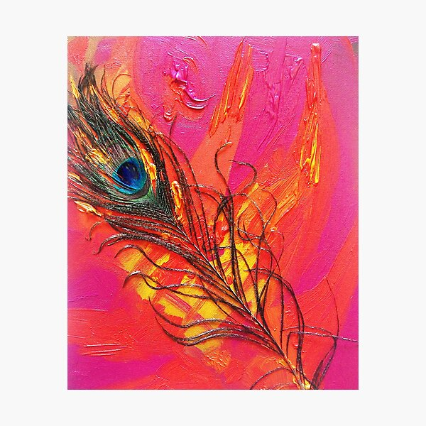 PEACOCK IN FLAMES Photographic Print