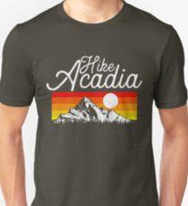 Camiseta unisex Caminata al Parque Nacional Acadia Diseño Vintage Maine