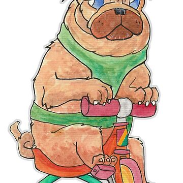 Rando the Pug on a Tricycle by tomasquinones