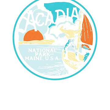 Acadia National Park MAine Retro Badge Graphic  by robotbasecamp