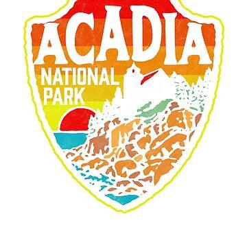 Acadia National Park Retro Mains Coast Badge by robotbasecamp