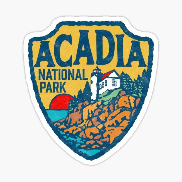 Acadia National Park Retro Maine Coast Badge Sticker