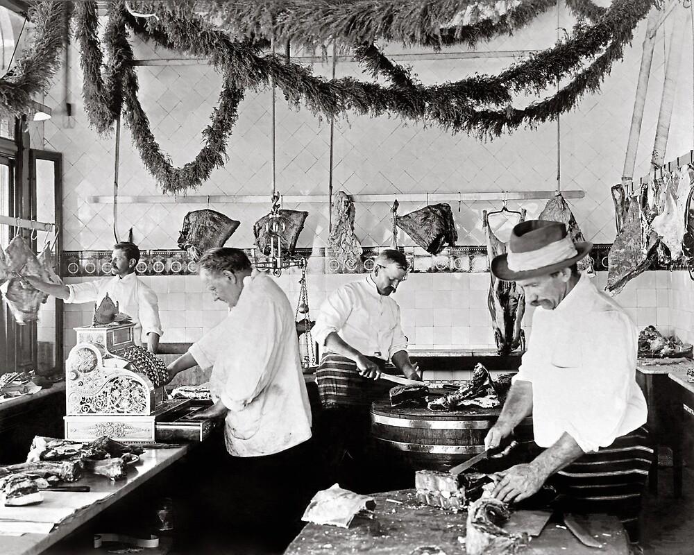 Butcher Shop, 1895. Vintage Photo by historyphoto