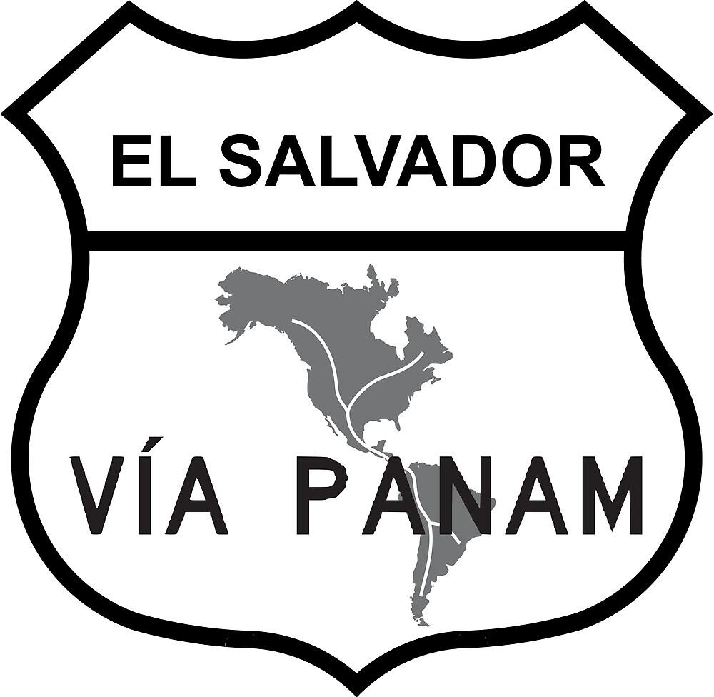 El Salvador Via Panam Pan American Highway Shield  by ofmany