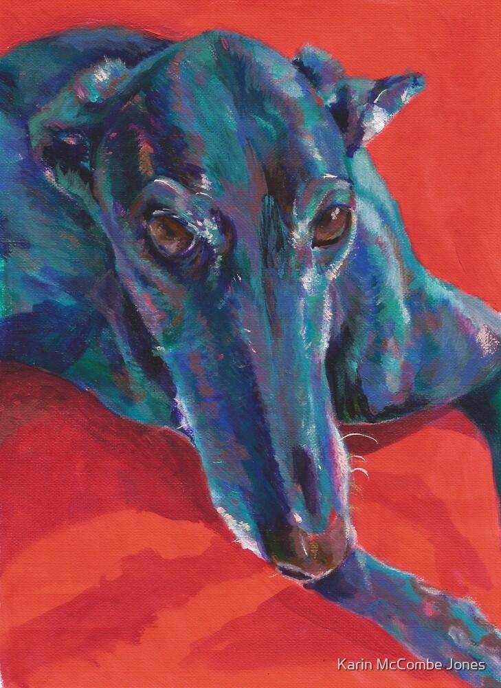 Greyhound on Red by Karin McCombe Jones