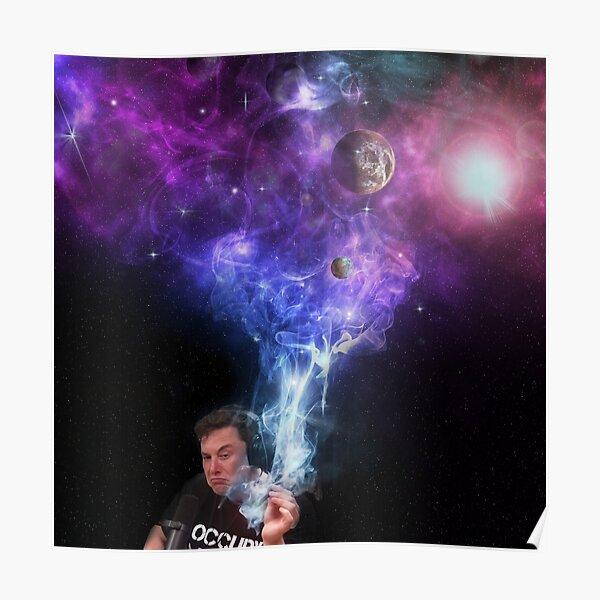 Elon Musk Fumando Marihuana - Espacio Exterior Póster