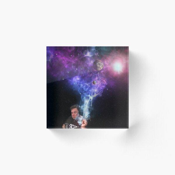 Elon Musk Fumando Marihuana - Espacio Exterior Bloque acrílico