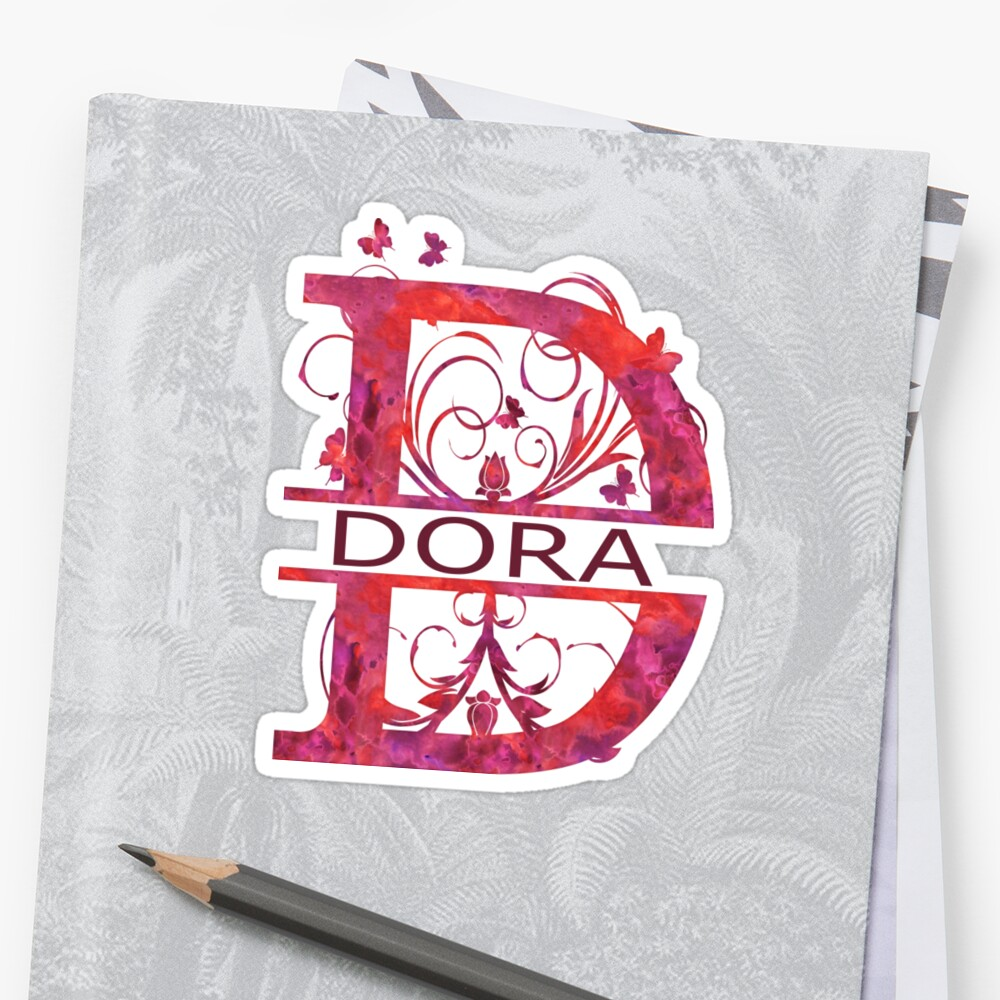 Dora | Girls Name Monogram | Watercolor and Butterflies by PraiseQuotes