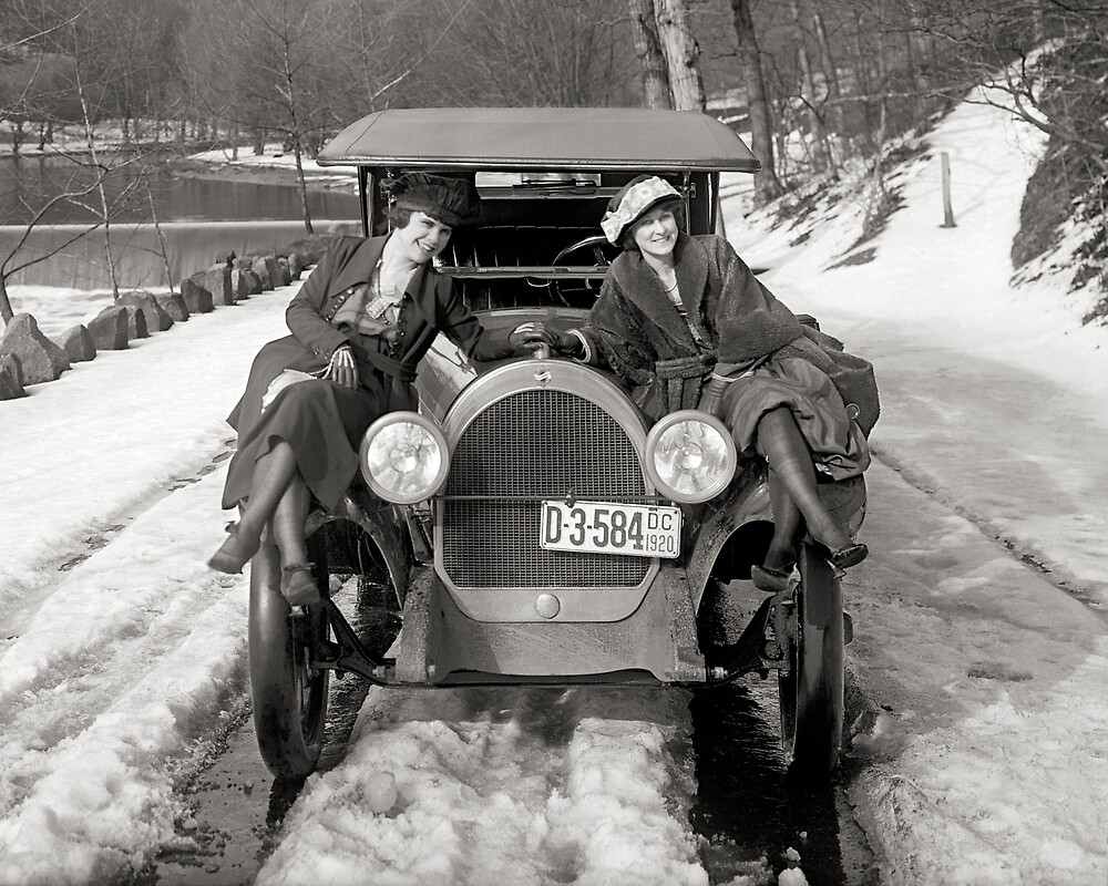 Women Posing On Automobile, 1920. Vintage Photo by historyphoto