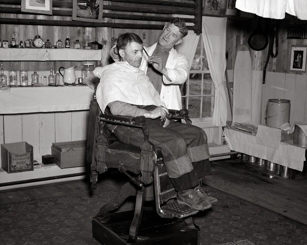 Logging Camp Barber Shop, 1937. Vintage Photo by historyphoto