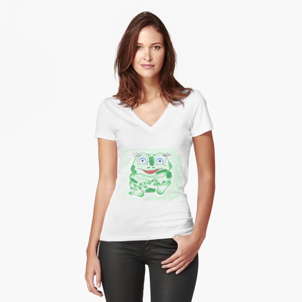 FRANCES THE FROG Women's Fitted V-Neck T-Shirt Front